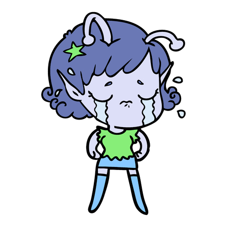 Weeping and disappointed alien girl cartoon