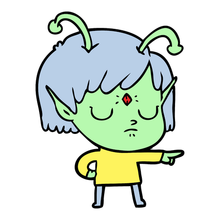 Disappointed alien girl cartoon