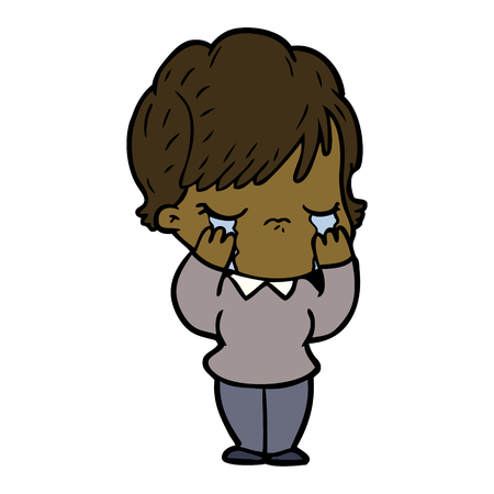 Weeping, sad woman cartoon Illustration