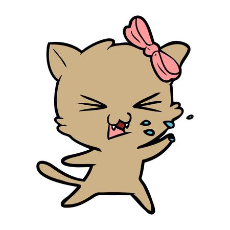 Irritated kitten cartoon