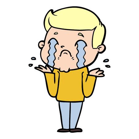 Hand drawn cartoon man crying Ilustração