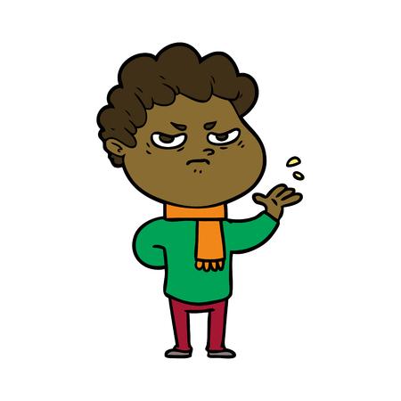 Grumpy and dissatisfied man cartoon
