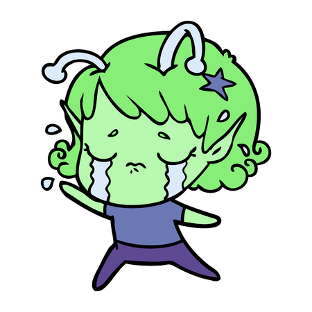 Weeping and down alien girl cartoon