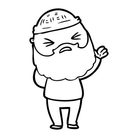 Hombre de dibujos animados dibujados a mano con barba