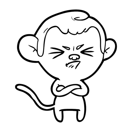 Strict and grumpy monkey cartoon