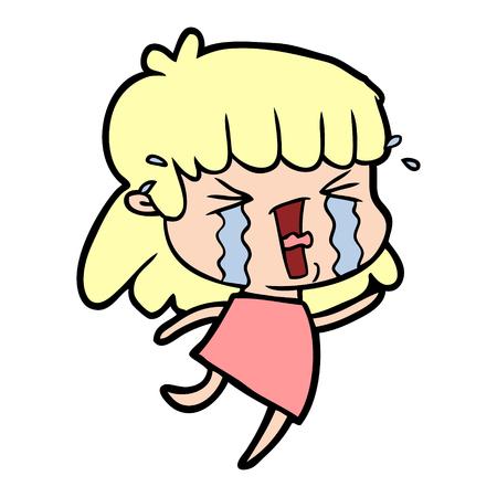 Weinende und kreischende Frauenkarikatur Standard-Bild - 95642202