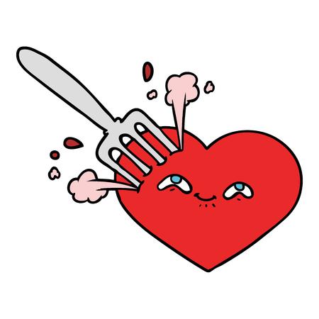 Hand drawn cartoon love heart stuck with fork Banco de Imagens - 95326512