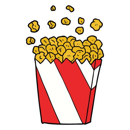 Hand drawn cartoon cinema popcorn