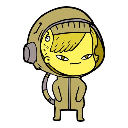 Yellowish pretty space woman cartoon