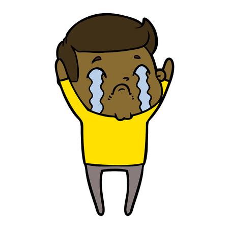 Sad man wailing while hands are raised cartoon