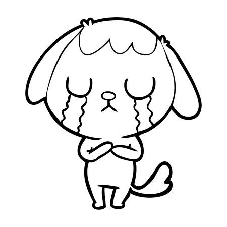 Sad but cute dog crying cartoon