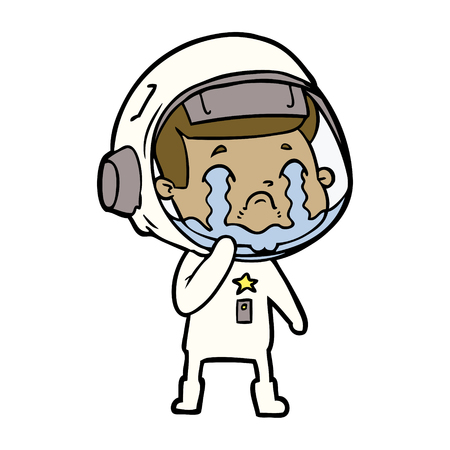 Weeping and down space woman cartoon Illustration