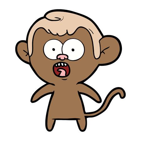 Hand drawn cartoon shocked monkey Çizim