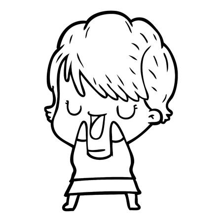 Mujer de dibujos animados dibujados a mano hablando Foto de archivo - 95326836
