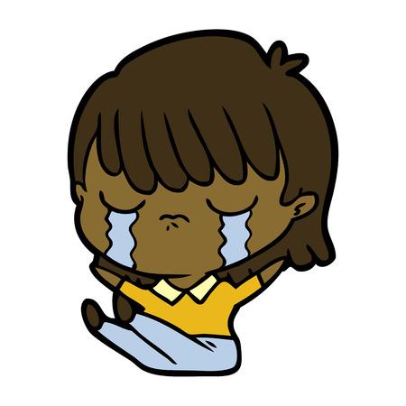 Weinen und enttäuscht Frau Cartoon Standard-Bild - 95643053