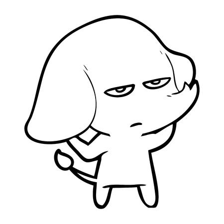 Hand drawn annoyed cartoon elephant