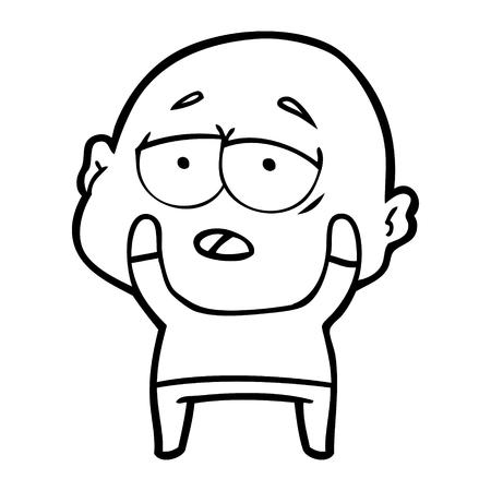 Hand drawn cartoon tired bald man