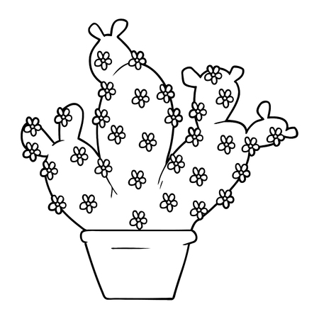 Hand drawn cartoon potted cactus Illustration