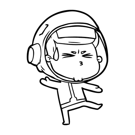 cartoon stressed astronaut Vector illustration. Archivio Fotografico - 95258268