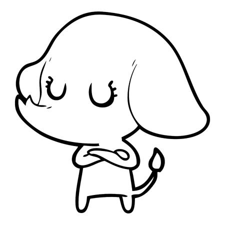 Hand drawn cute cartoon elephant Standard-Bild - 95327740