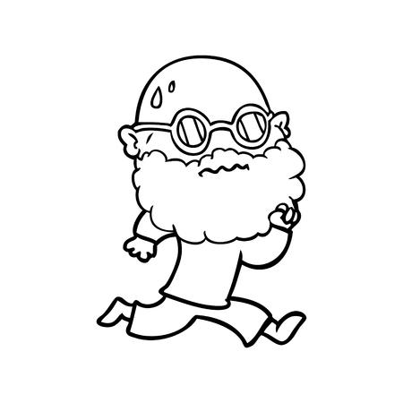 Hand drawn cartoon running man with beard and sunglasses sweating