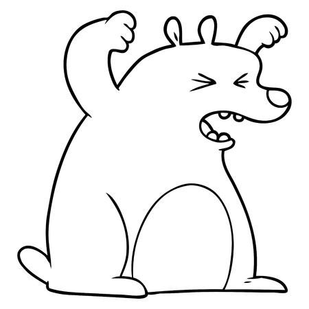 Hand drawn cartoon roaring bear