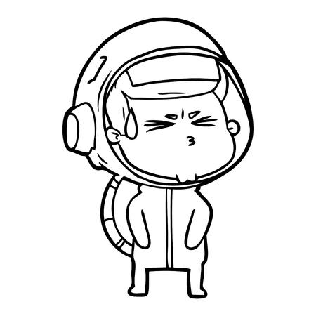 Hand drawn cartoon stressed astronaut