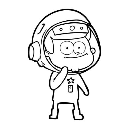Hand drawn happy astronaut cartoon