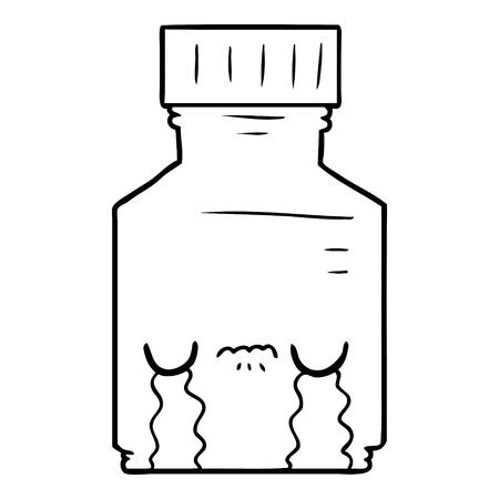 Hand drawn cartoon pill jar Ilustração