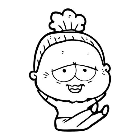 Hand drawn cartoon happy old lady Stock fotó - 95328588
