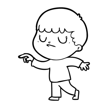 Hand drawn cartoon grumpy boy Ilustração