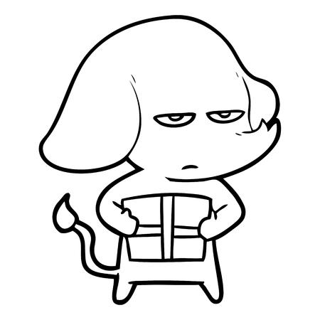 手描きのアノニー漫画象  イラスト・ベクター素材