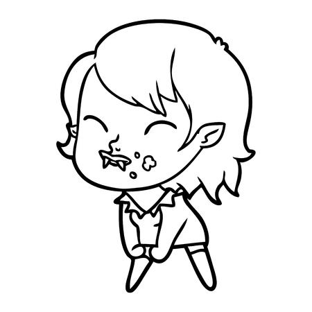 Hand drawn cartoon vampire girl with blood on cheek Banco de Imagens - 95329607