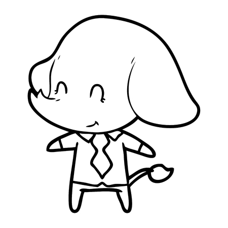 Hand drawn cute cartoon elephant boss