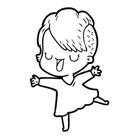 Hand drawn cute cartoon girl with hipster haircut