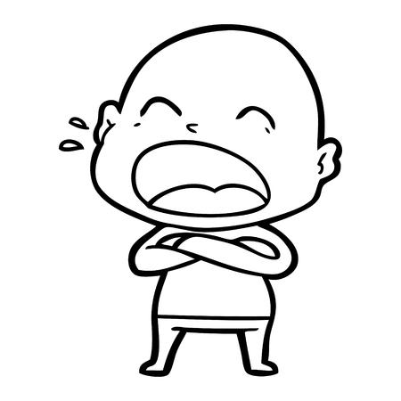 Hand drawn cartoon shouting bald man