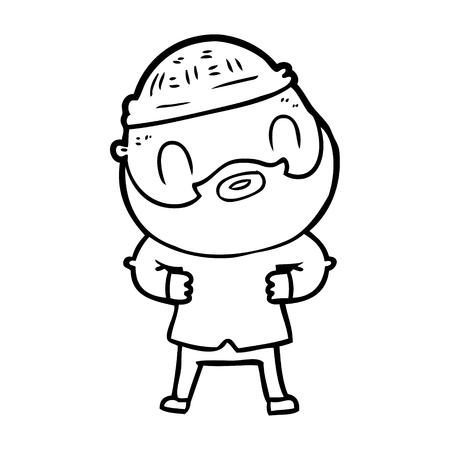 Hand drawn cartoon bearded man 向量圖像
