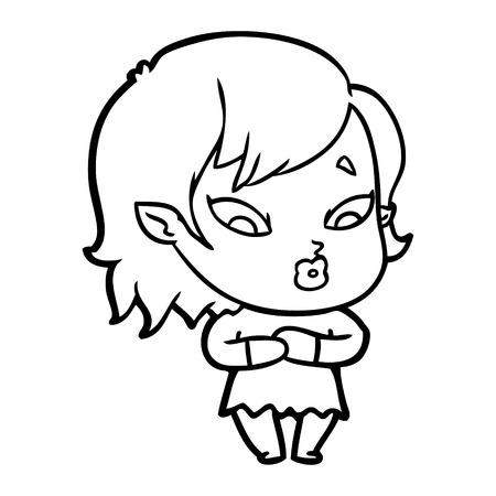 Hand drawn cute cartoon vampire girl