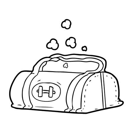Hand drawn cartoon gym bag Illusztráció
