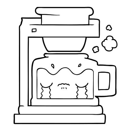 cartoon crying filter coffee machine