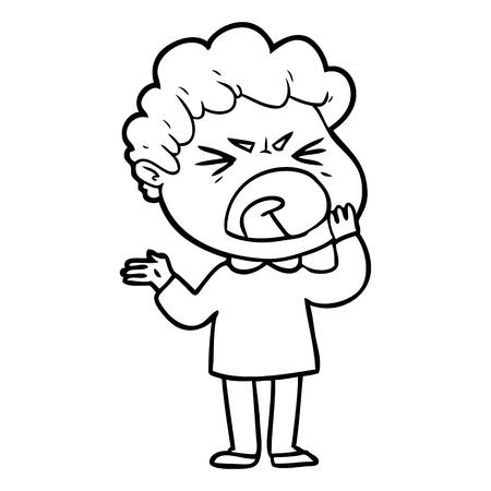 Hand drawn cartoon furious man