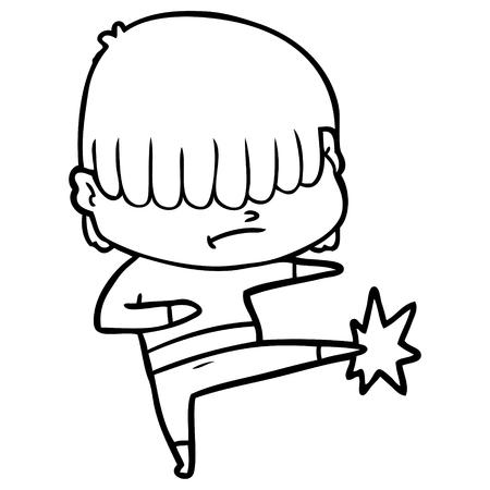 Hand drawn cartoon boy with untidy hair