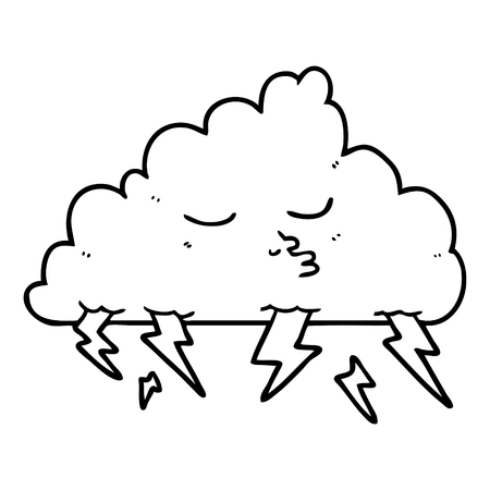 Hand drawn cartoon storm cloud