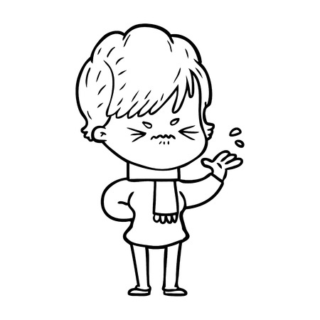 Hand drawn cartoon frustrated woman