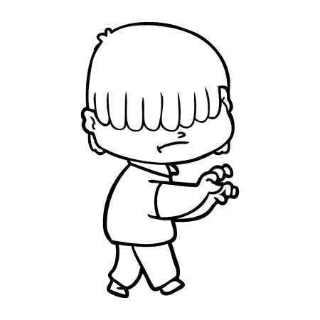 Cartoon boy with untidy hair