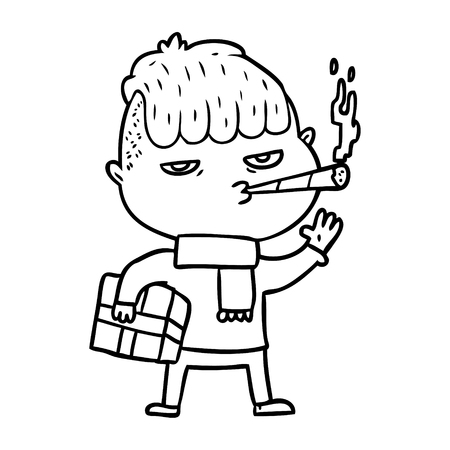 A cartoon man smoking carrying Christmas gift on plain background.