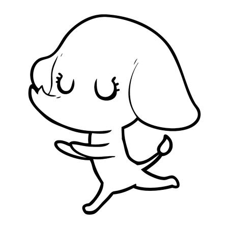 A cute cartoon elephant on plain background. Фото со стока - 95292042