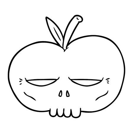 A cartoon spooky skull apple on plain background. Фото со стока - 95292212