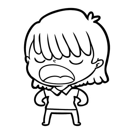 A cartoon woman talking loudly on plain background.
