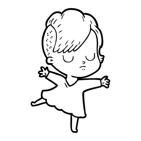 A cartoon woman on plain background.